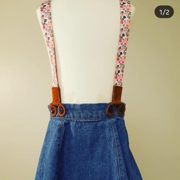 OshKosh BGosh Baby Girls 3-PIECE FLORAL SUSPENDER Jean DENIM SKIRT Floral Suspenders So Cute!